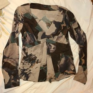 Etro Milano abstract floral long sleeve babydoll